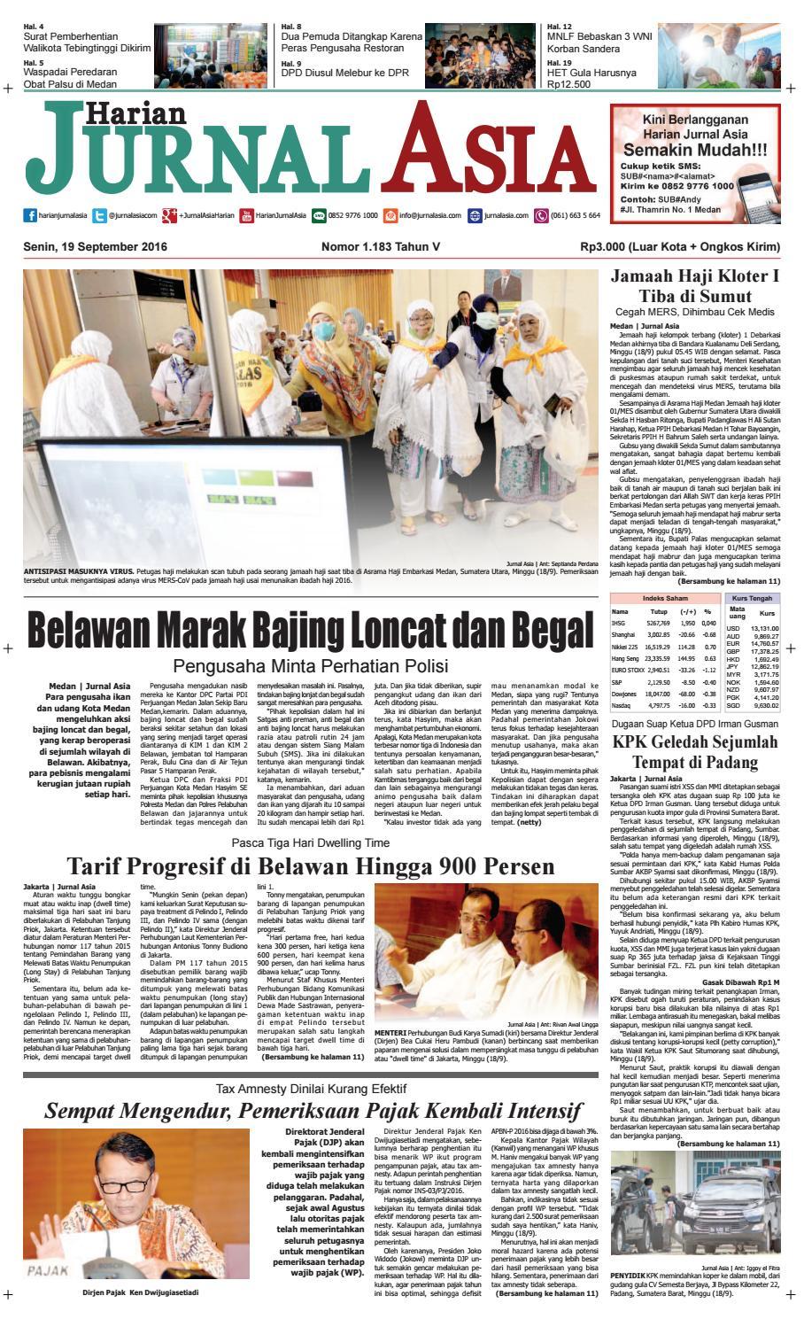 Harian Jurnal Asia Edisi Senin 19 September 2016 By Produk Ukm Bumn Philips Essential 18w Medan Issuu