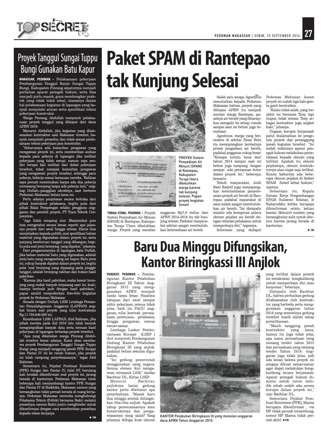 Edisi 49 19 September 2016 Pedoman Makassar By Juug Untuk Air Minum Issuu