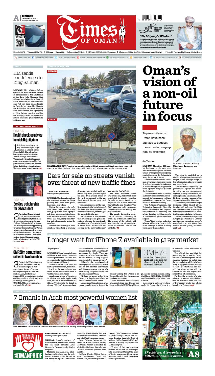 Times of Oman - September 19, 2016 by Muscat Media Group - issuu