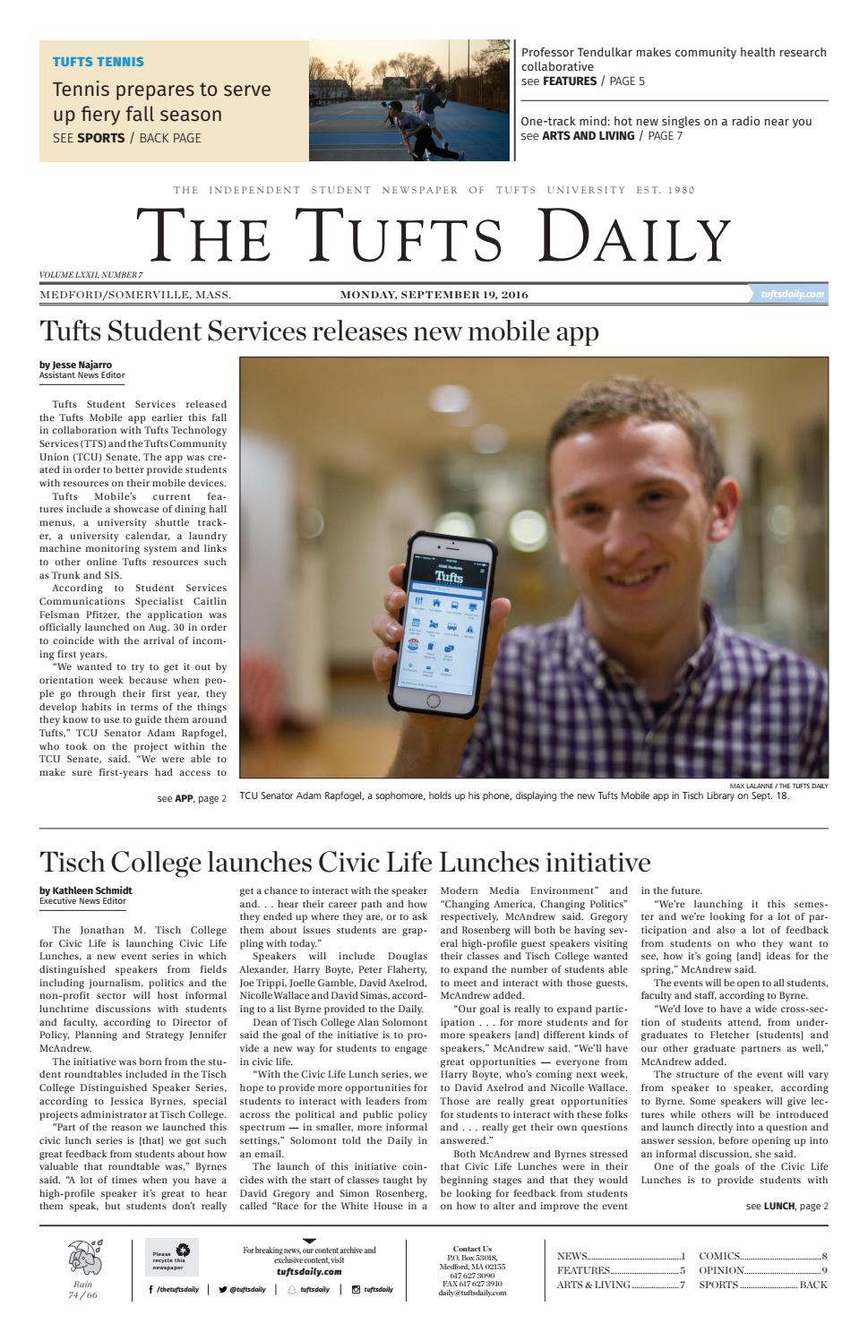 Monday, September 19, 2016 by Tufts Daily - issuu