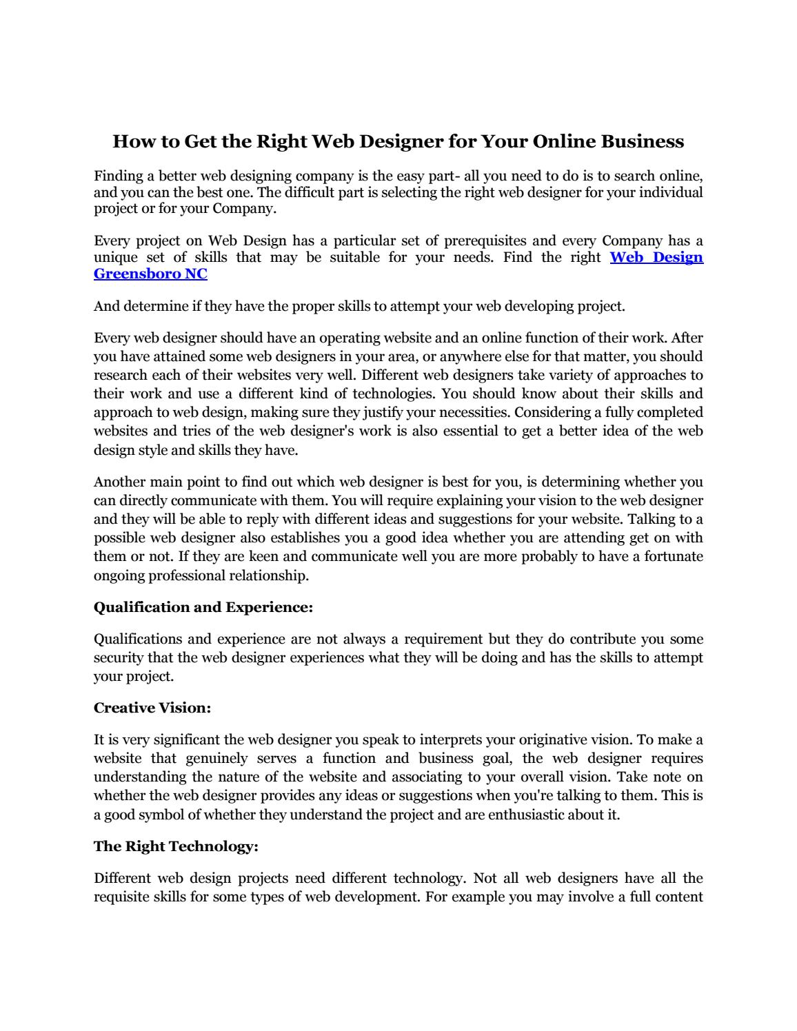 How To Get The Right Web Designer For Your Online Business By Willyhammer Issuu