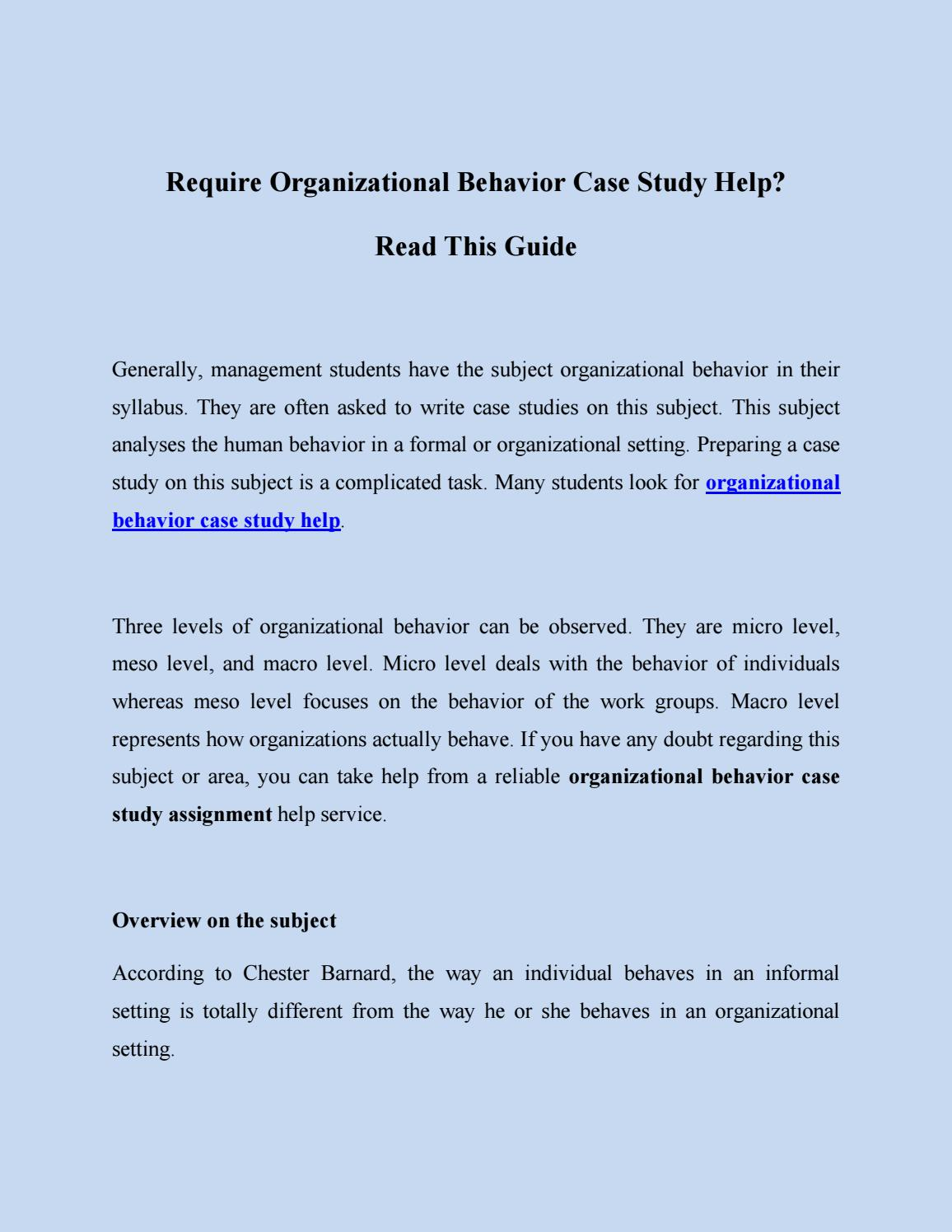 case study on personality in organizational behaviour pdf
