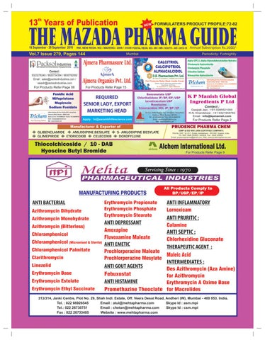 The Mazada Pharma Guide - 16th to 30th September 2016 by The Mazada