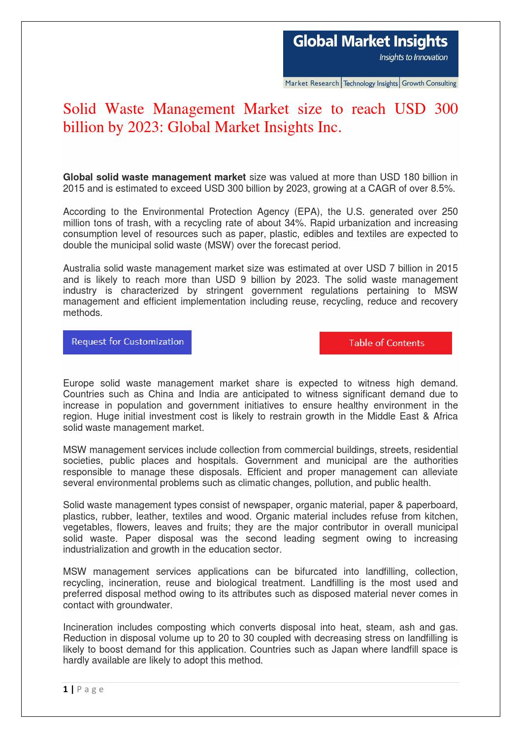 Solid Waste Management Market size worth USD 300 billion by 2023 by
