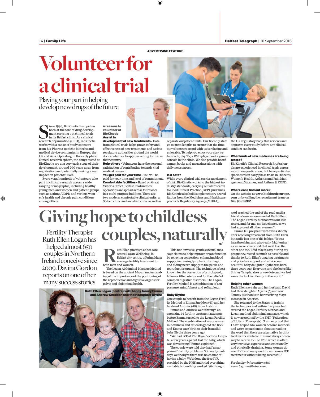 Belfast Telegraph Family Life Magazine September 2016 by
