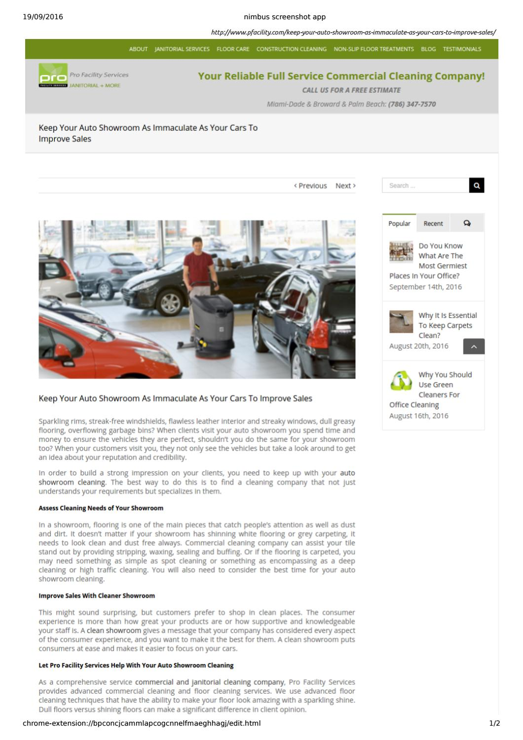 Maintain Cleaning of Auto Showroom With Pro Facility