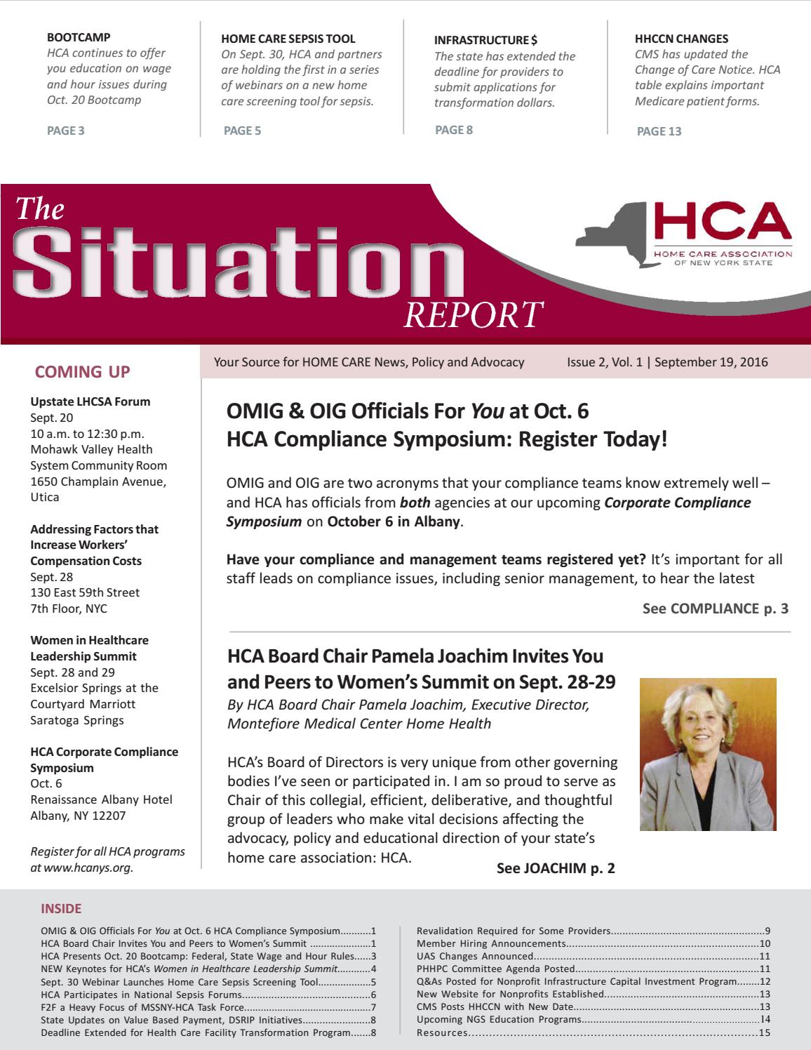 Sept 19 2016 Edition Of The Situation Report By Home Care