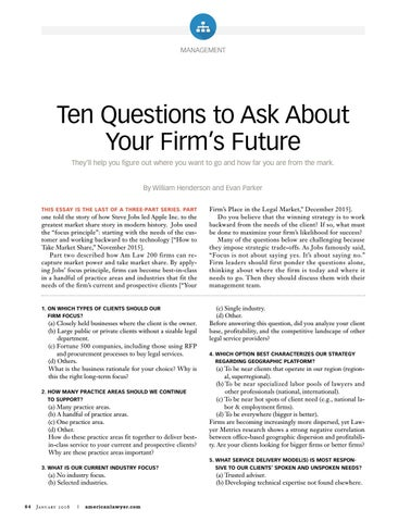 Ten Questions to Ask About Your Firm's Future