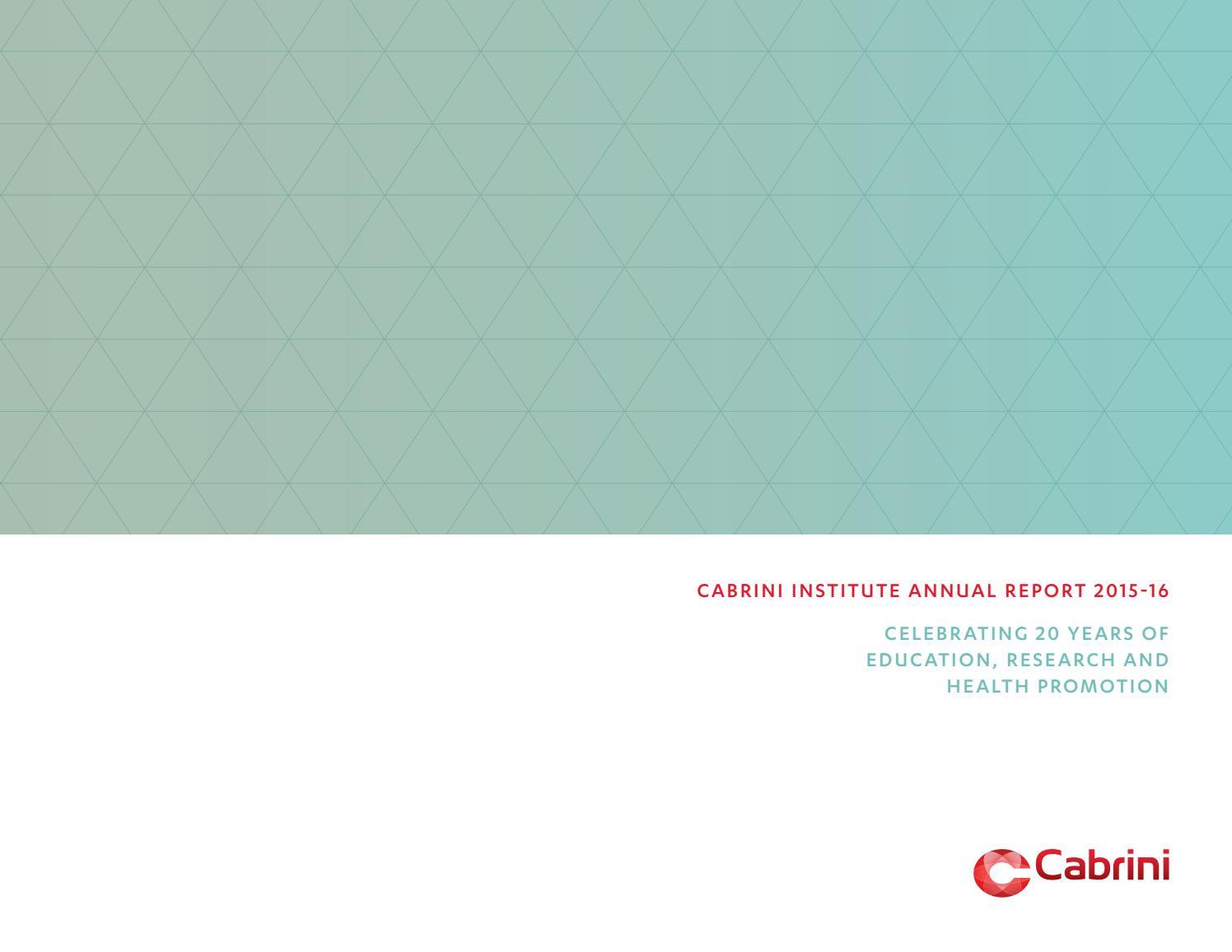 Cabrini institute annual report 2015 16 by cabrini health issuu