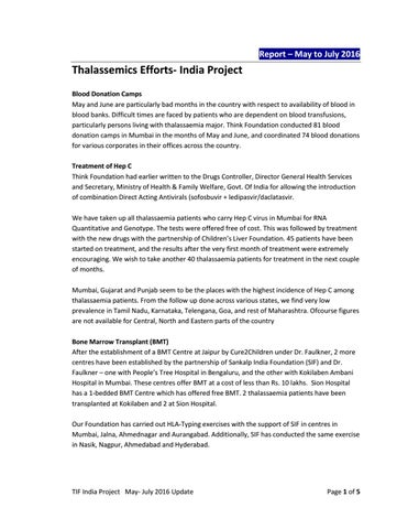 TIF India report May to July 2016 by Thalassaemia