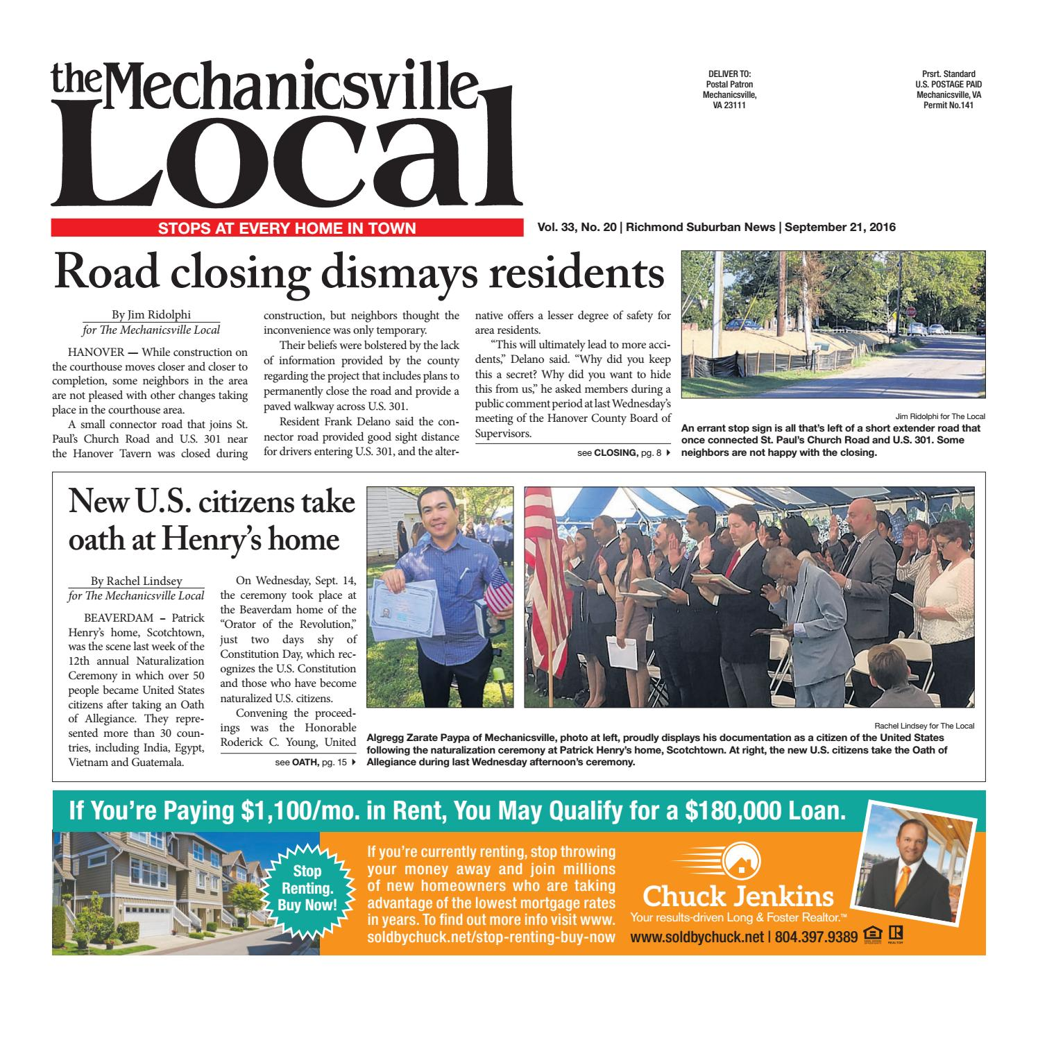 09/21/16 by The Mechanicsville Local - issuu