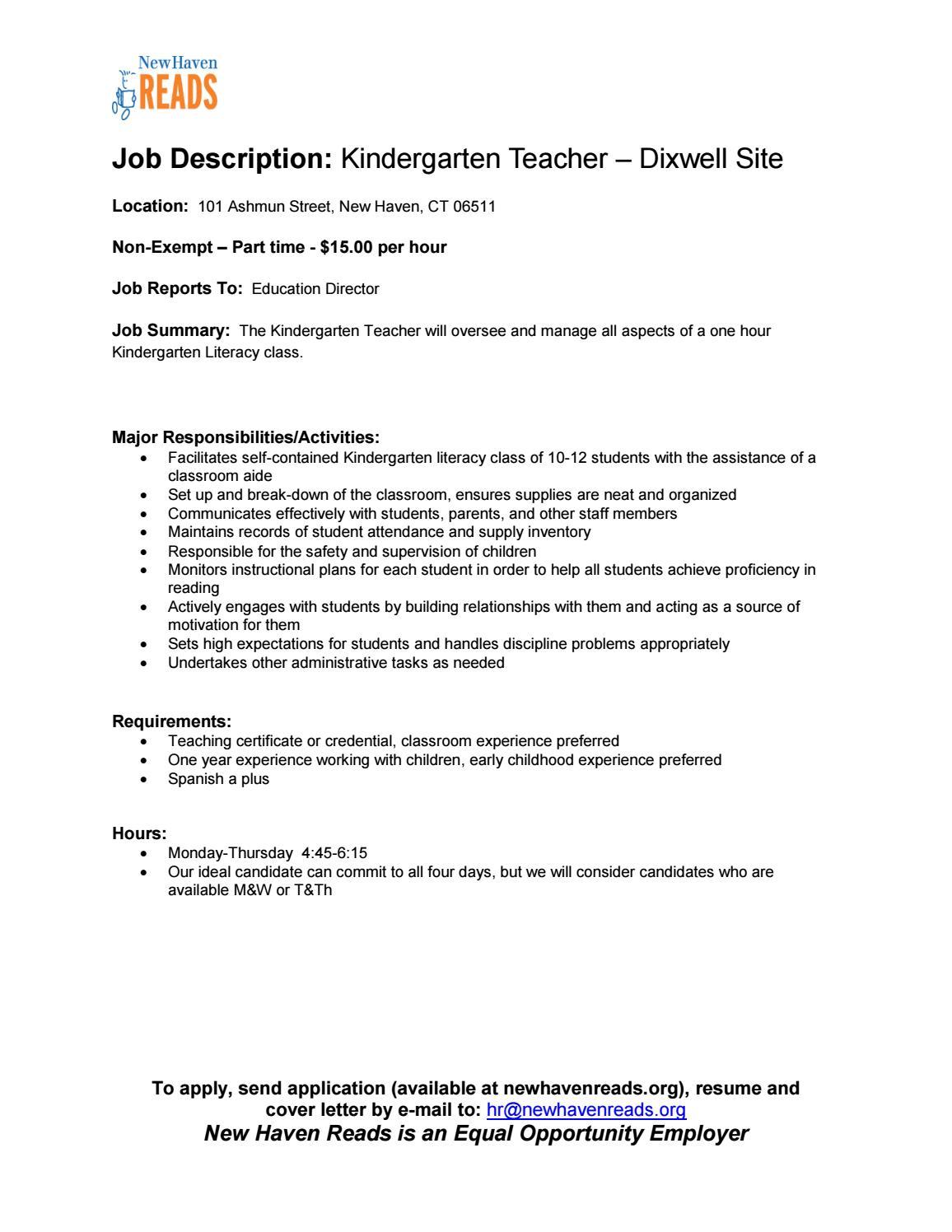 Job Description Kindergarten Teacher Dixwell By New Haven Reads