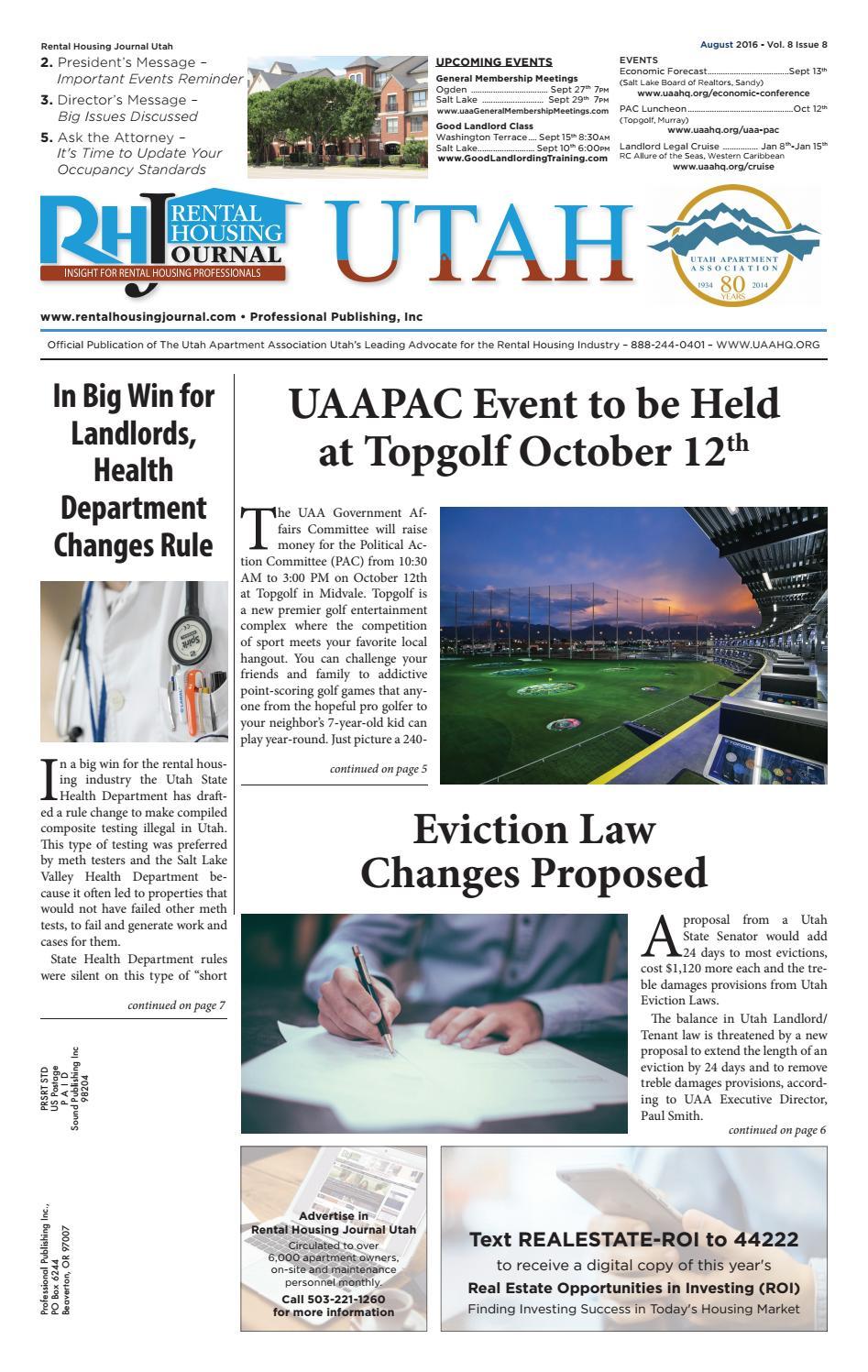 Rental Housing Journal Utah August 2016 by Professional Publishing