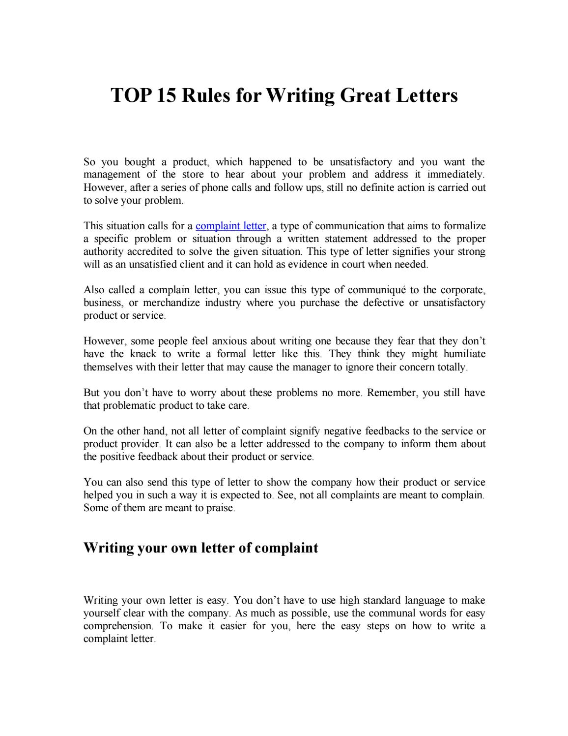 Top 15 rules for writing great letters by Effective Letters