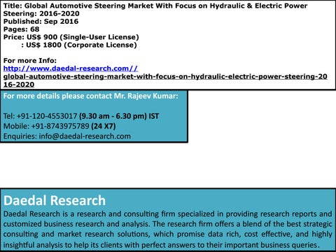 Global Automotive Steering Market With Focus On Hydraulic Electric 2016 2020