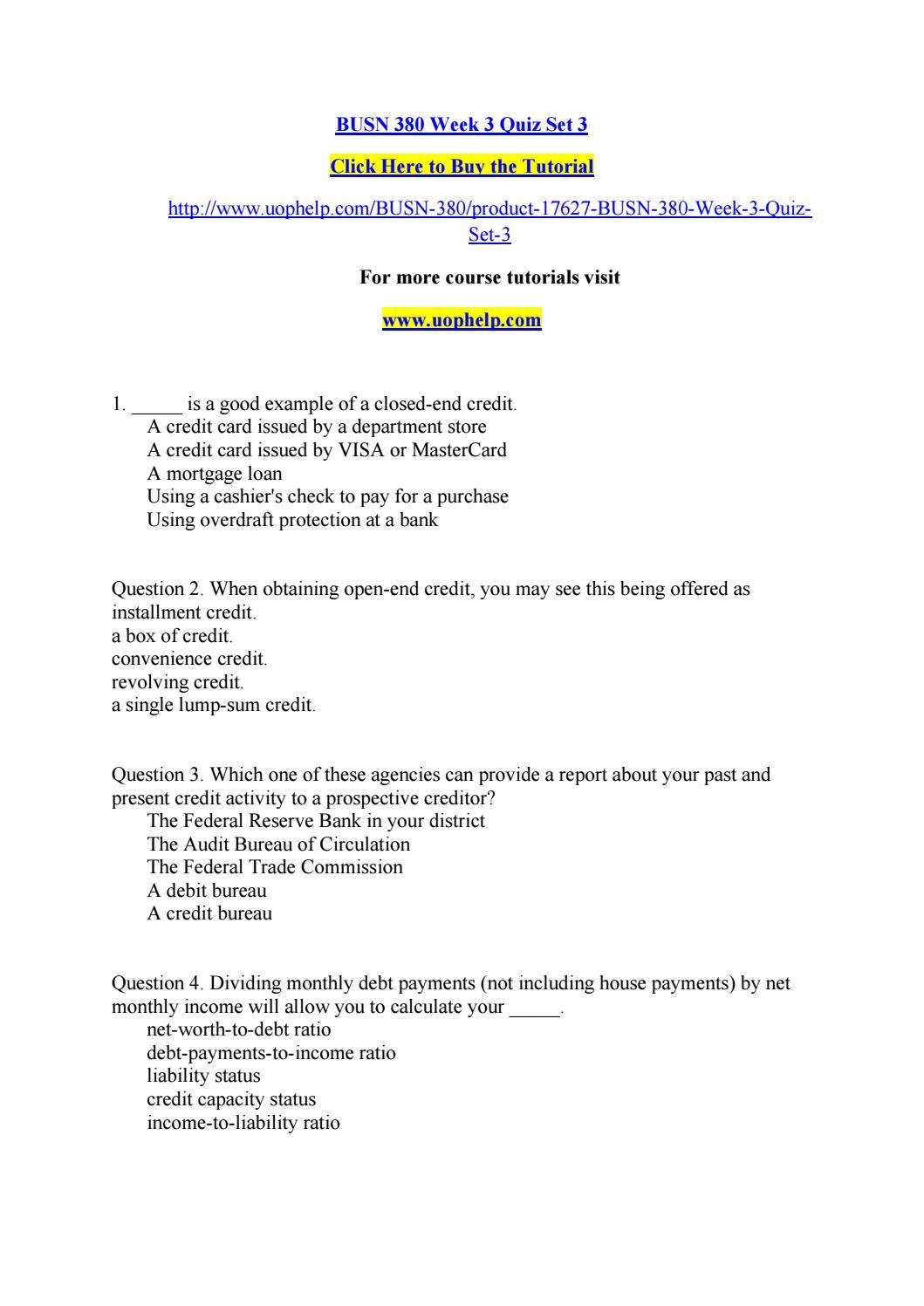 Busn 380 Week 3 Quiz Set 3 By Williammoseley9 Issuu
