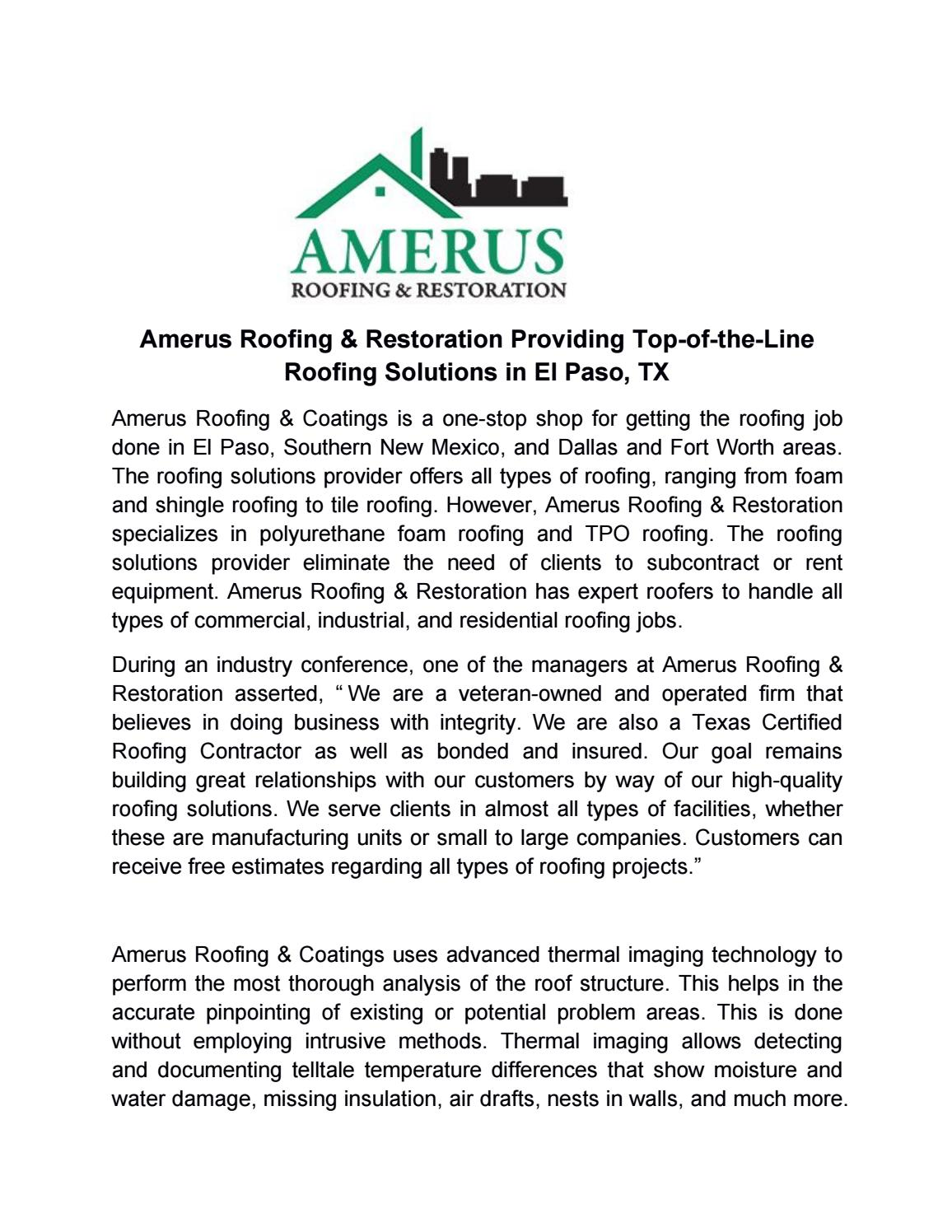 Amerus Roofing El Paso amerus roofing & restoration providing top of the line