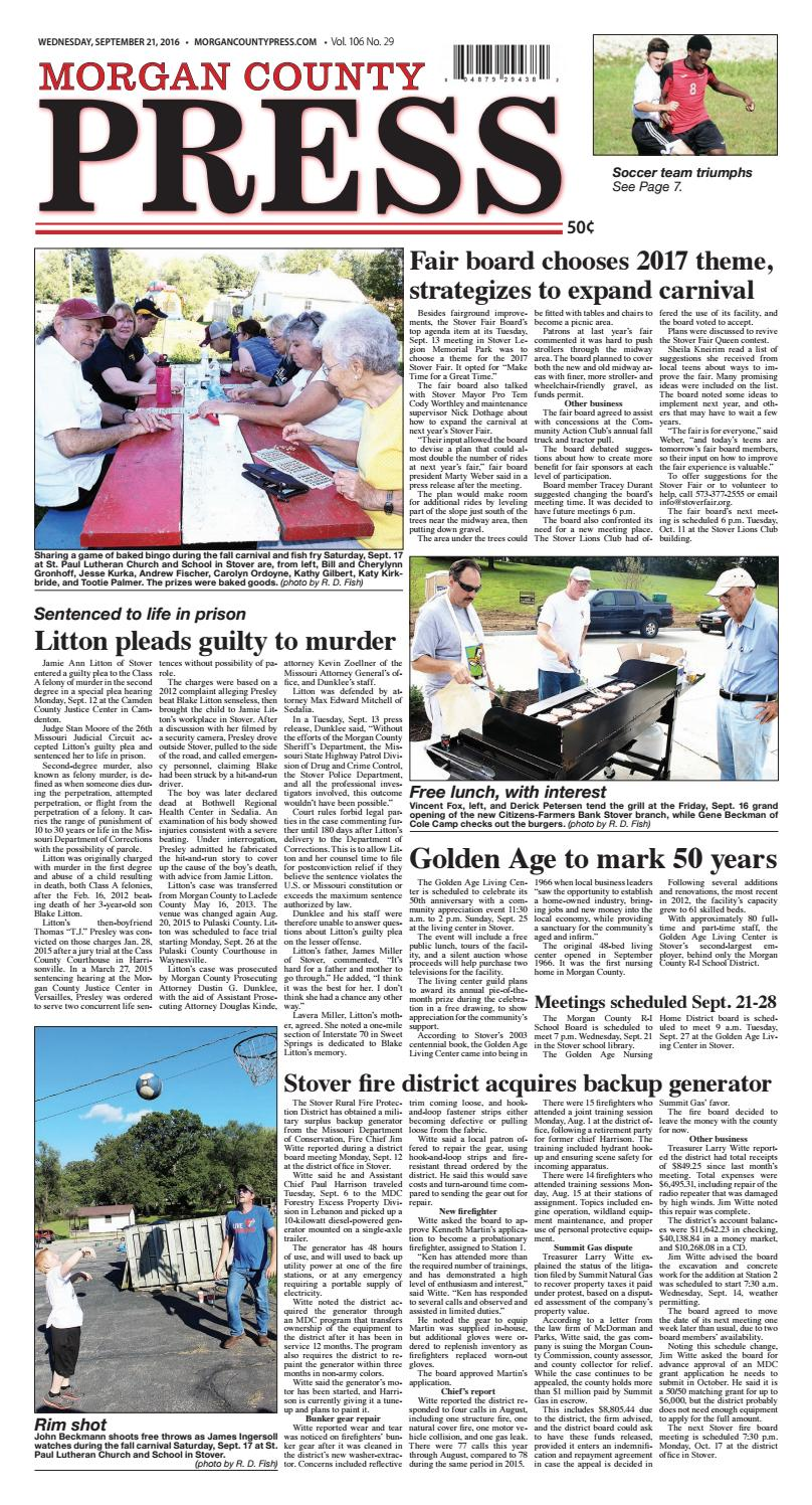 Morgan County Press September 21 2016 By Pipistrelle Press Issuu