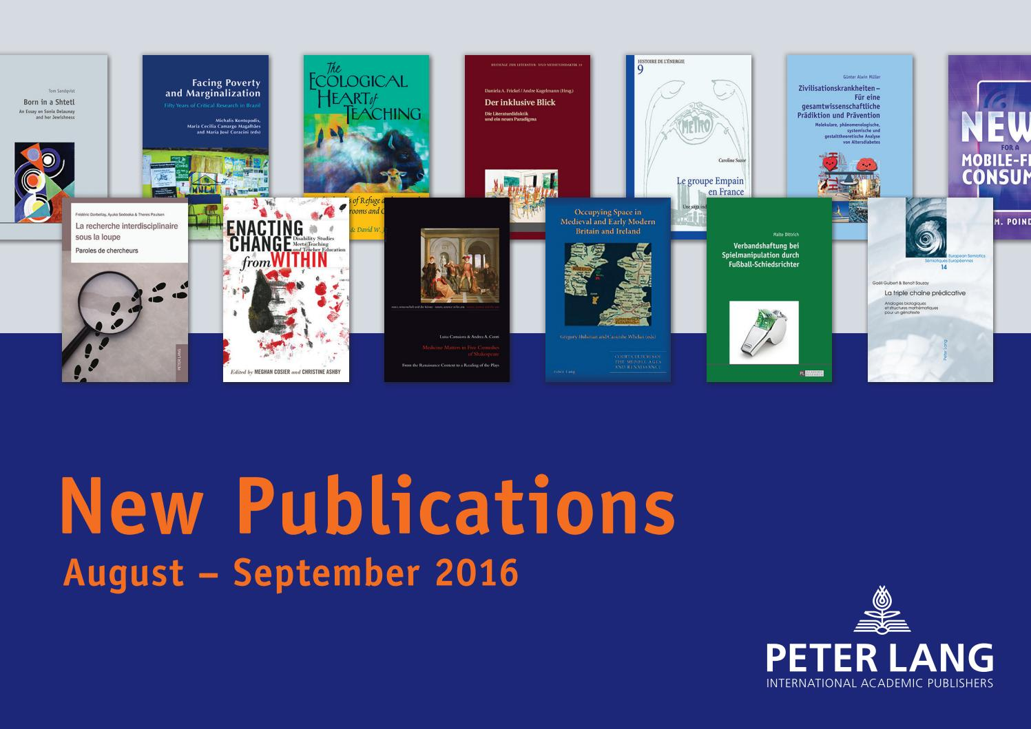 New Publications Catalogue August September 2016 By Peter