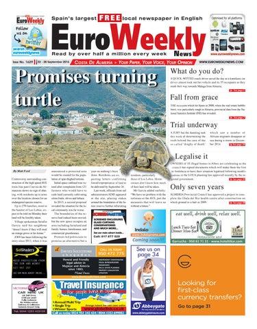 3e7b9f46f9 Euro Weekly News - Costa de Almeria 22 - 28 September 2016 Issue 1629. FREE  Newspaper in Spain ...