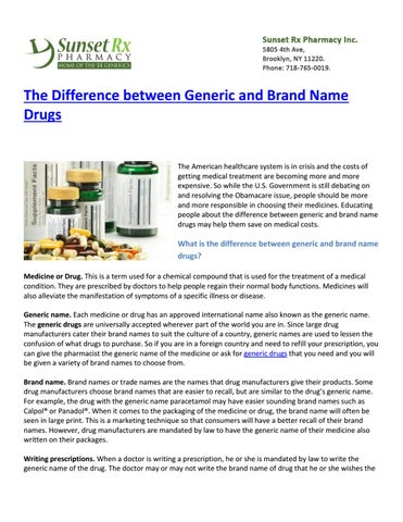 The difference between generic and brand name drugs by guest1237 - issuu