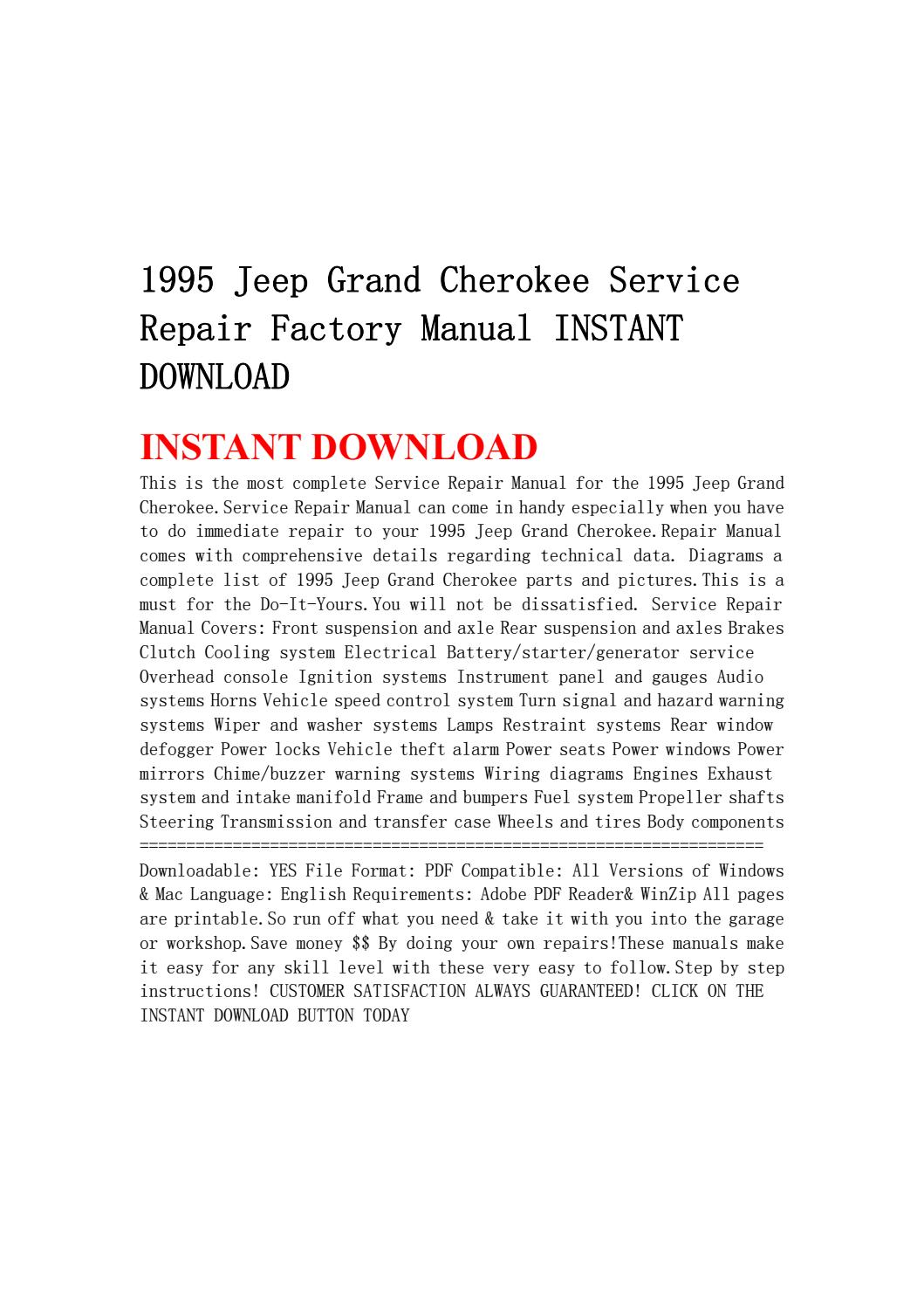 1995 Jeep Grand Cherokee Service Repair Factory Manual Instant 95 Wiper Wiring Diagram Download By Jhsefnshe Issuu