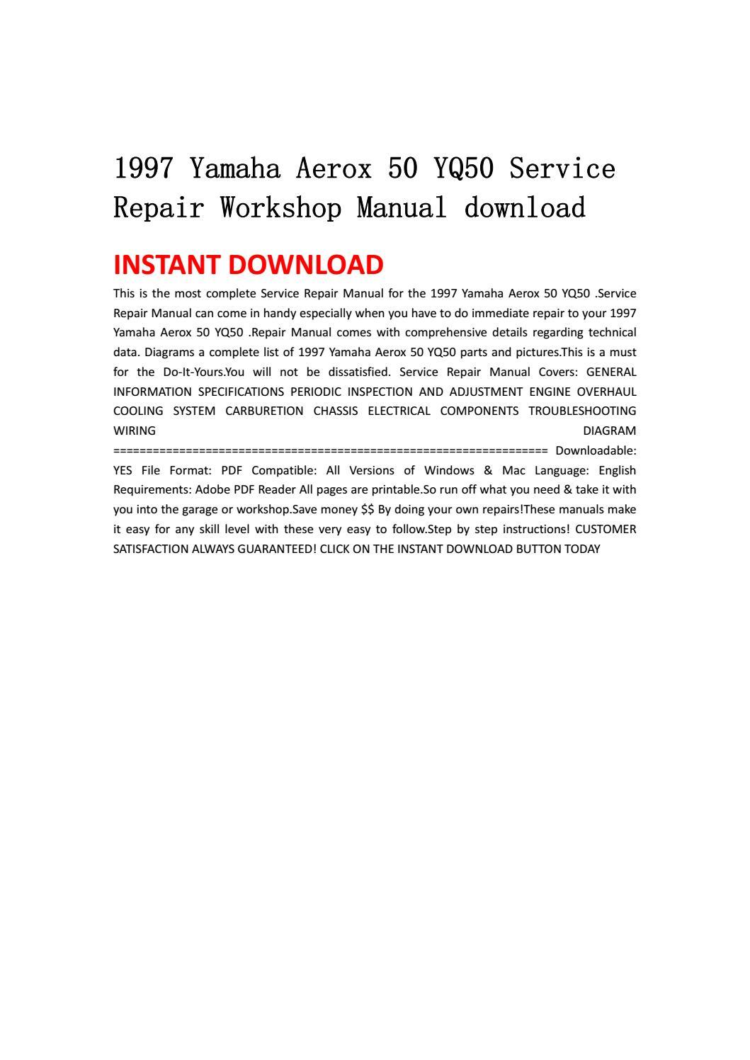 1997 yamaha aerox 50 yq50 service repair workshop manual download by  jhsefnshe - issuu