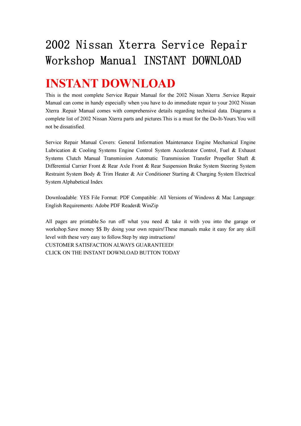 2002 nissan xterra repair manual pdf