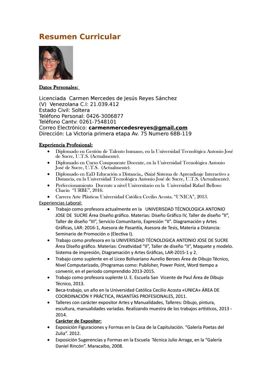 Resumen curricular lcda carmen reyes by CMJRS - issuu
