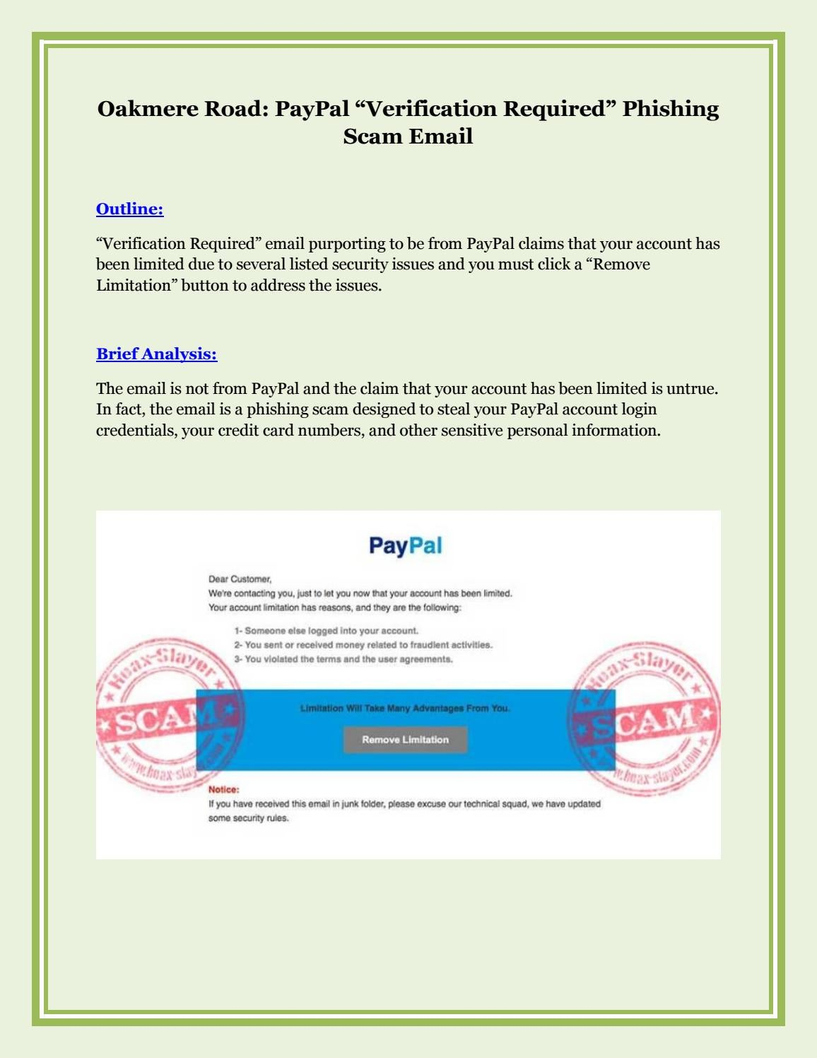 Email Paypal Verifikation