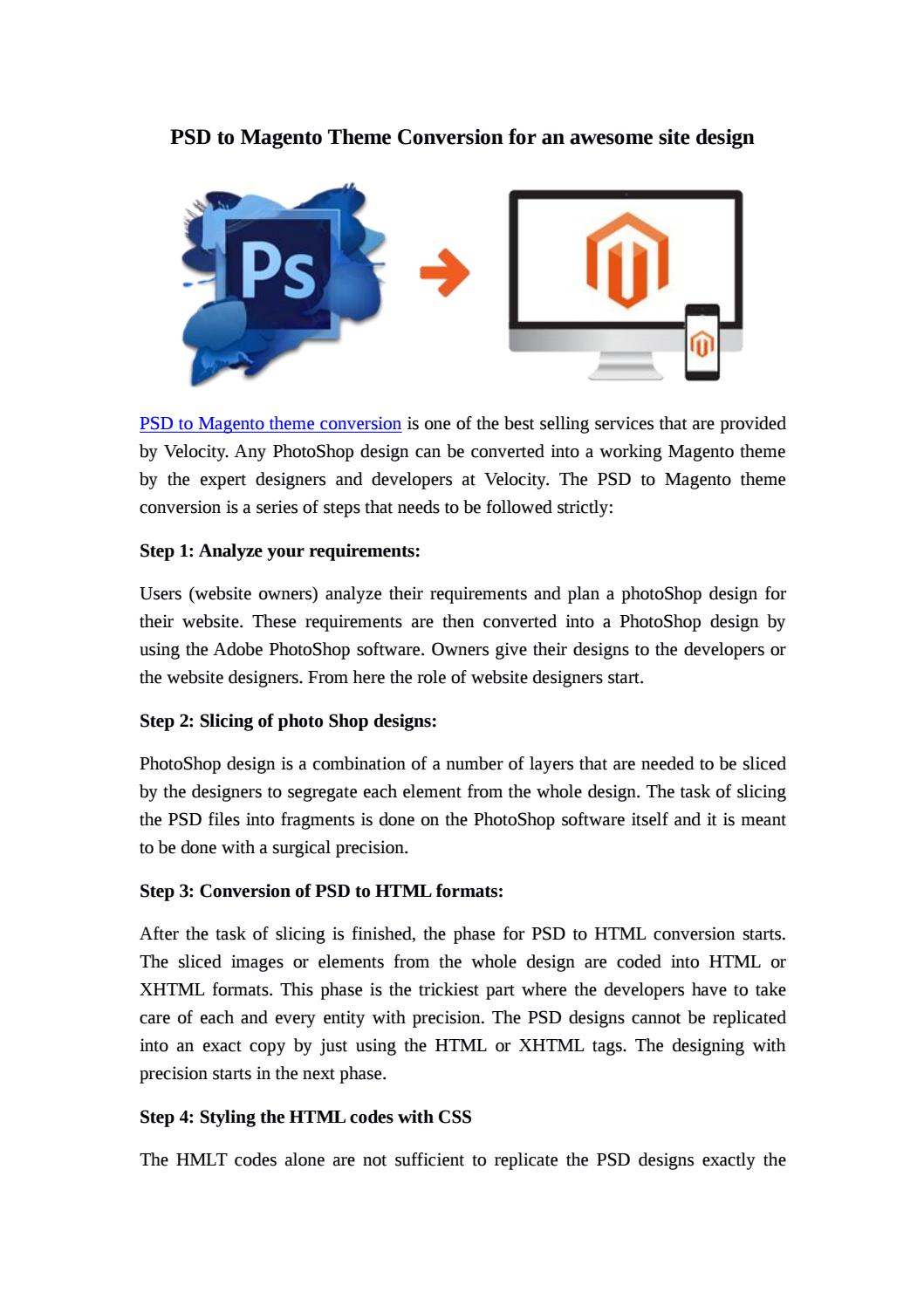 PSD to Magento Theme Conversion for an awesome site design