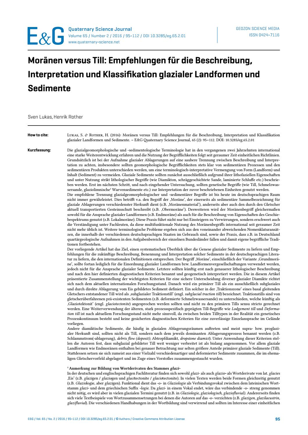 E&G – Quaternary Science Journal   Moränen versus Till ...