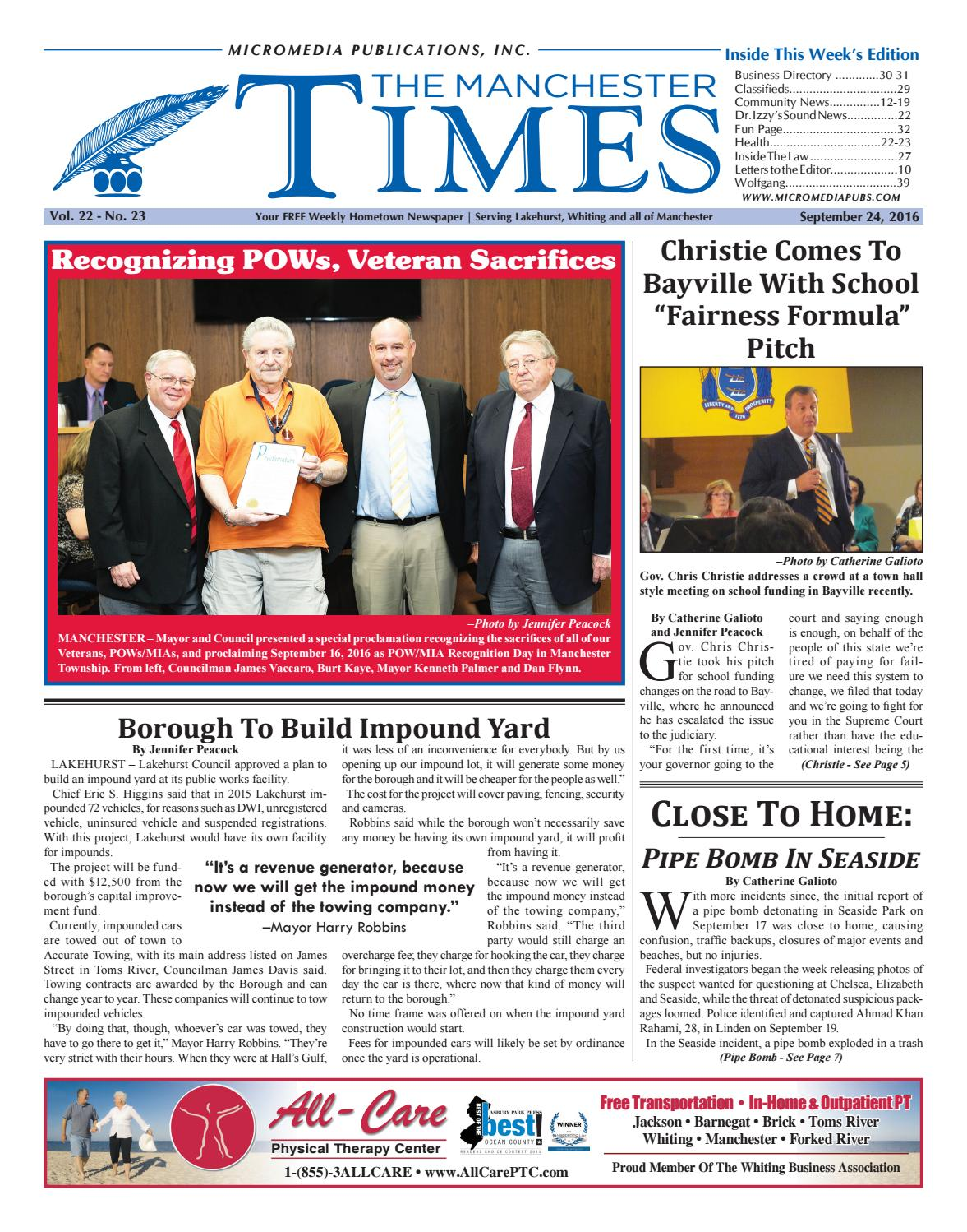 2016 09 24 The Manchester Times By Micromedia Publications Jersey Shore Online Issuu