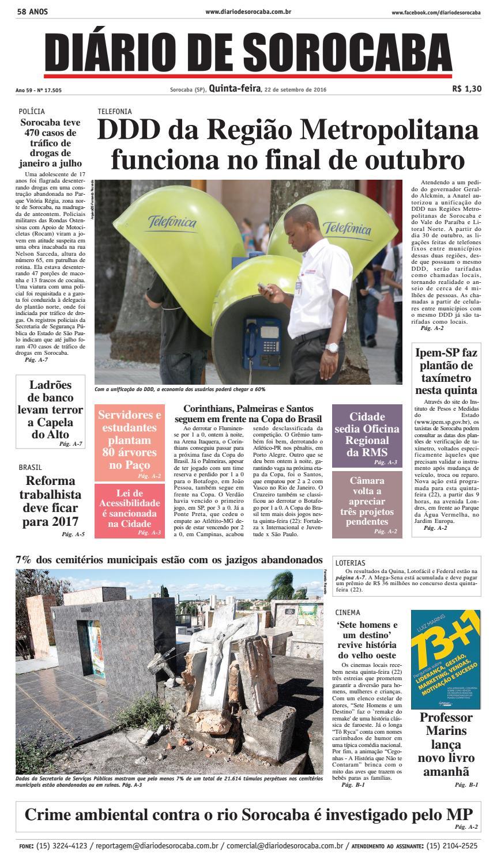 b8076fa1ee Edição de 22 de setembro de 2016 by DIÁRIO DE SOROCABA - issuu
