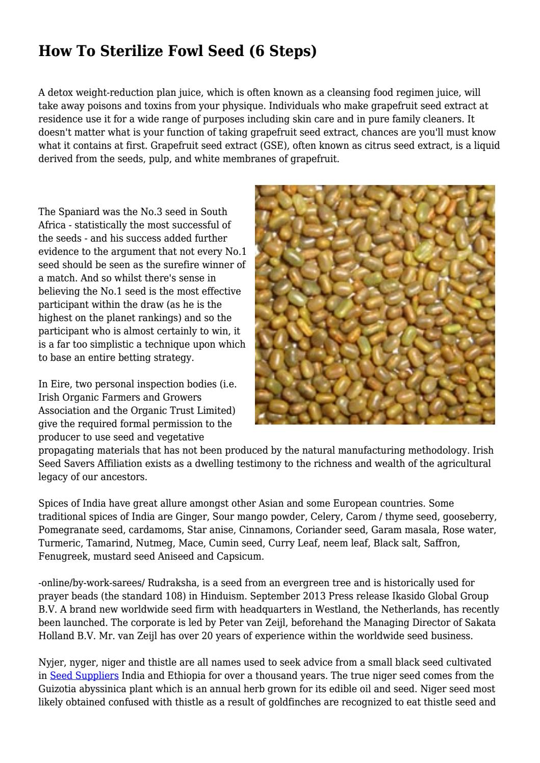 How To Sterilize Fowl Seed (6 Steps) by hinescfqkqcrigp - issuu