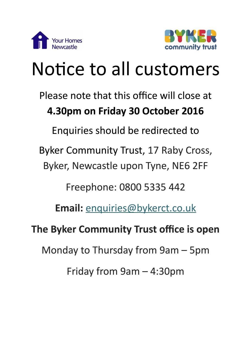 Byker office closure by Your Homes Newcastle - issuu