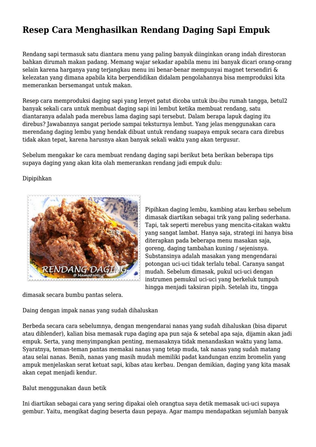 Cara Masak Rendang Daging Sapi Yang Empuk - Masak Memasak