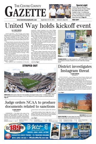 Centre County Gazette Sept 22 2016 By Indiana Printing