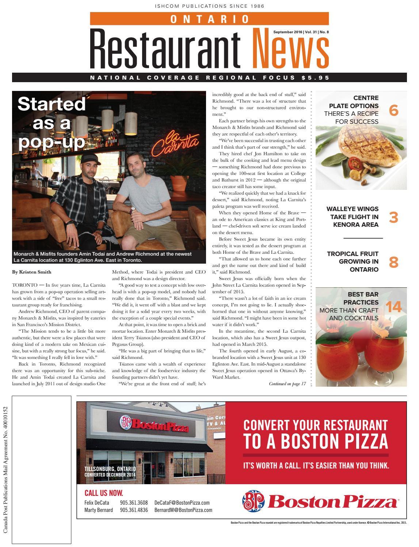 Ontario Restaurant News - September 2016 by Ishcom Publications - issuu