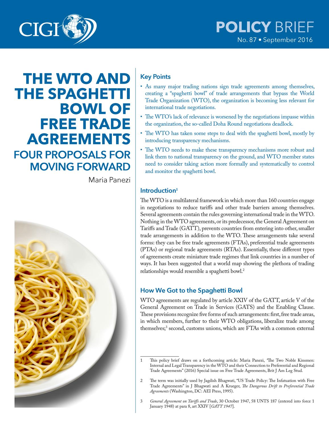 The Wto And The Spaghetti Bowl Of Free Trade Agreements Four
