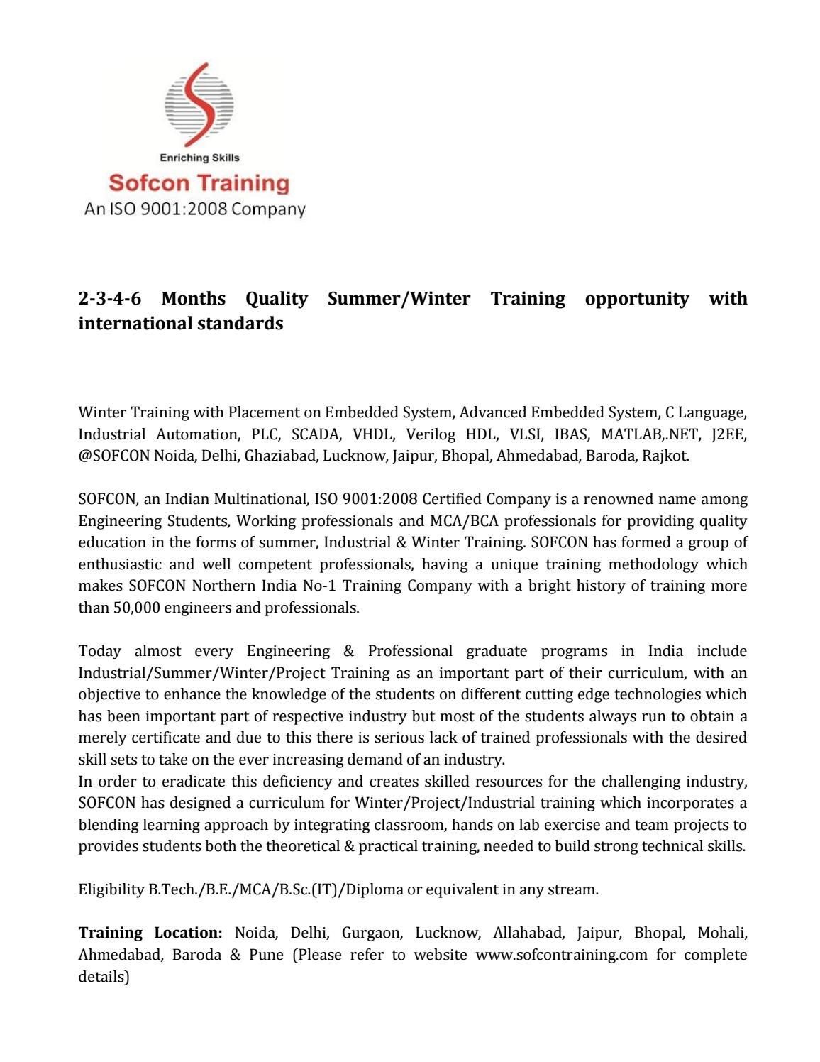 2 3 4 6 months summer training winter training by Sofcon