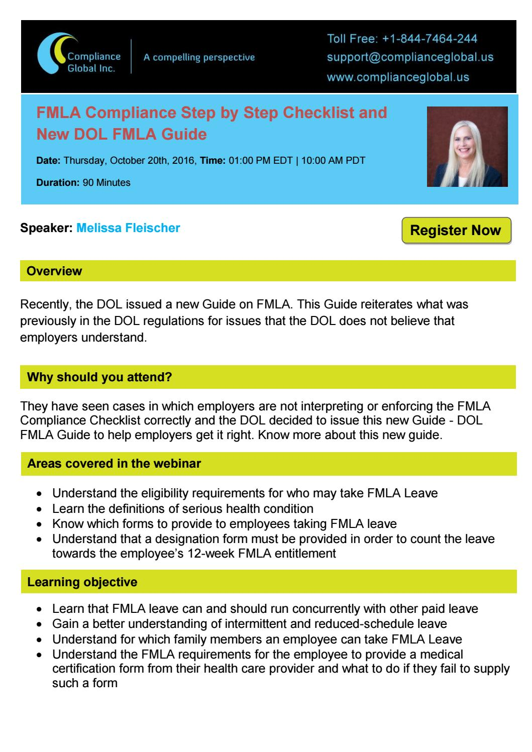 Fmla compliance step by step checklist and new dol fmla guide by fmla compliance step by step checklist and new dol fmla guide by compliance global inc by compliance global inc issuu falaconquin