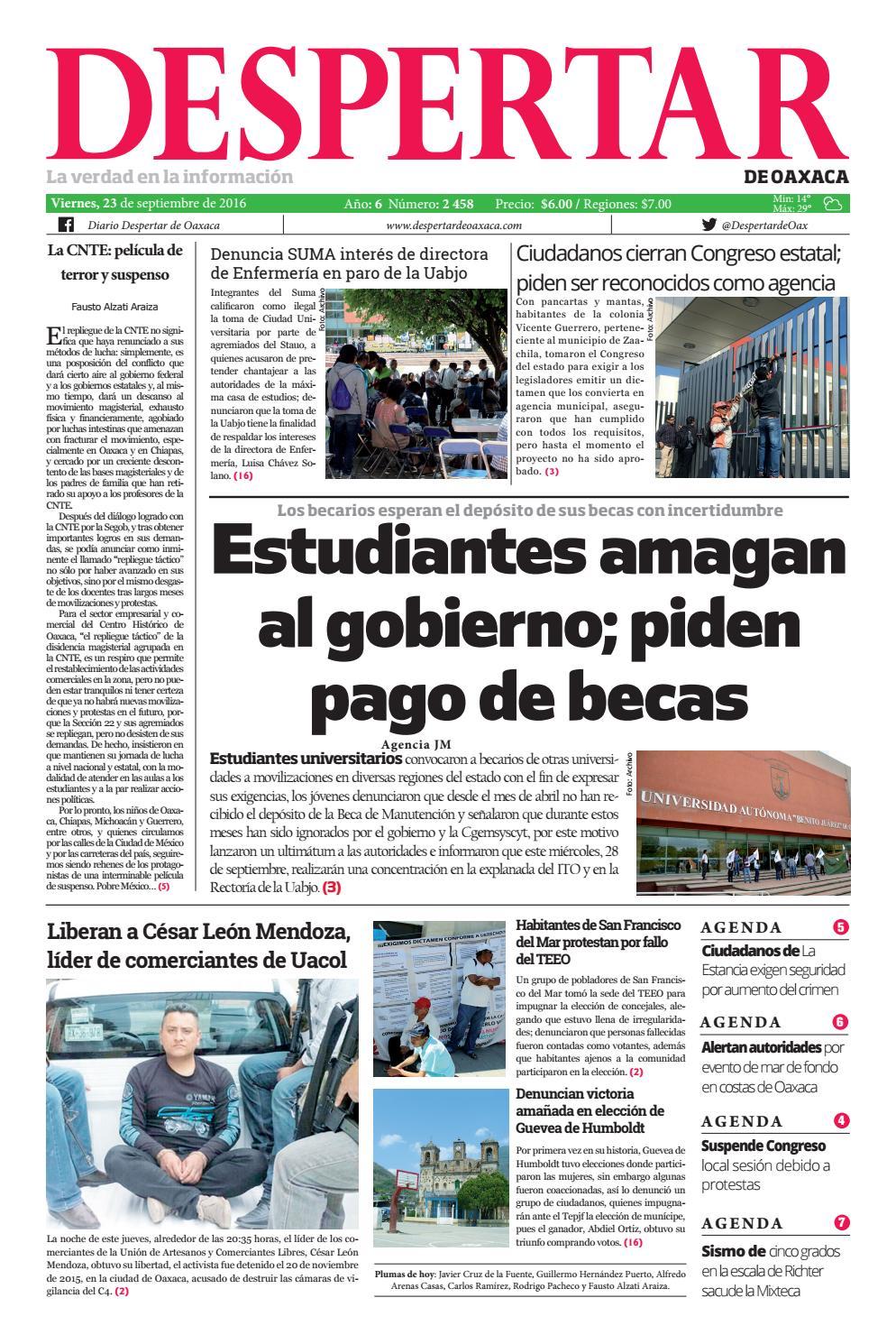 Despertar 23 de septiembre 2016 by Despertar de Oaxaca - issuu