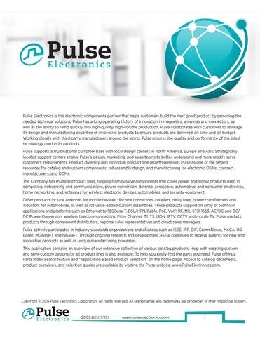 Pulse Short Form Catalog 2015 by Pulse Electronics - issuu