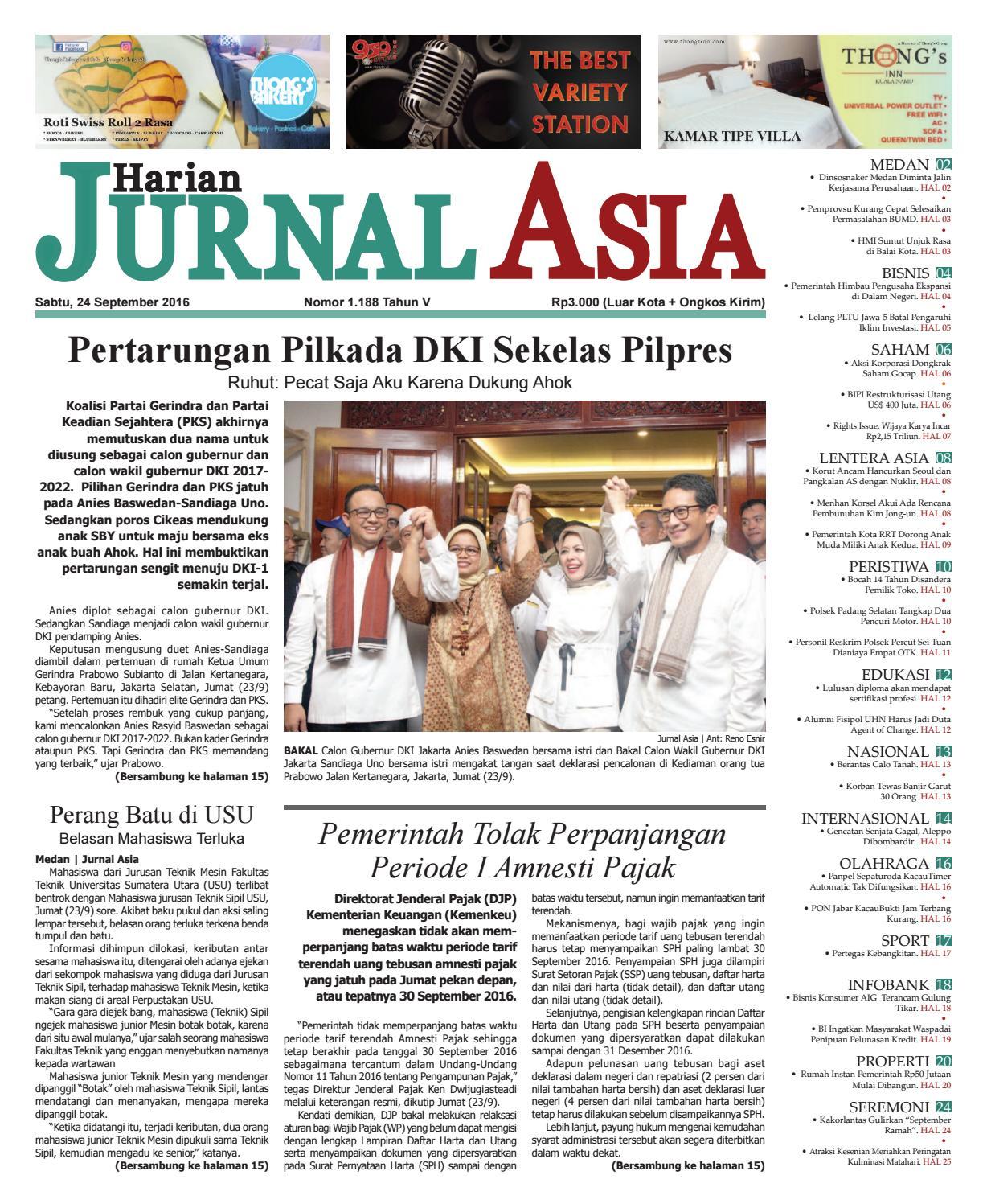 Harian Jurnal Asia Edisi Sabtu, 24 September 2016 by Harian Jurnal Asia - Medan - issuu