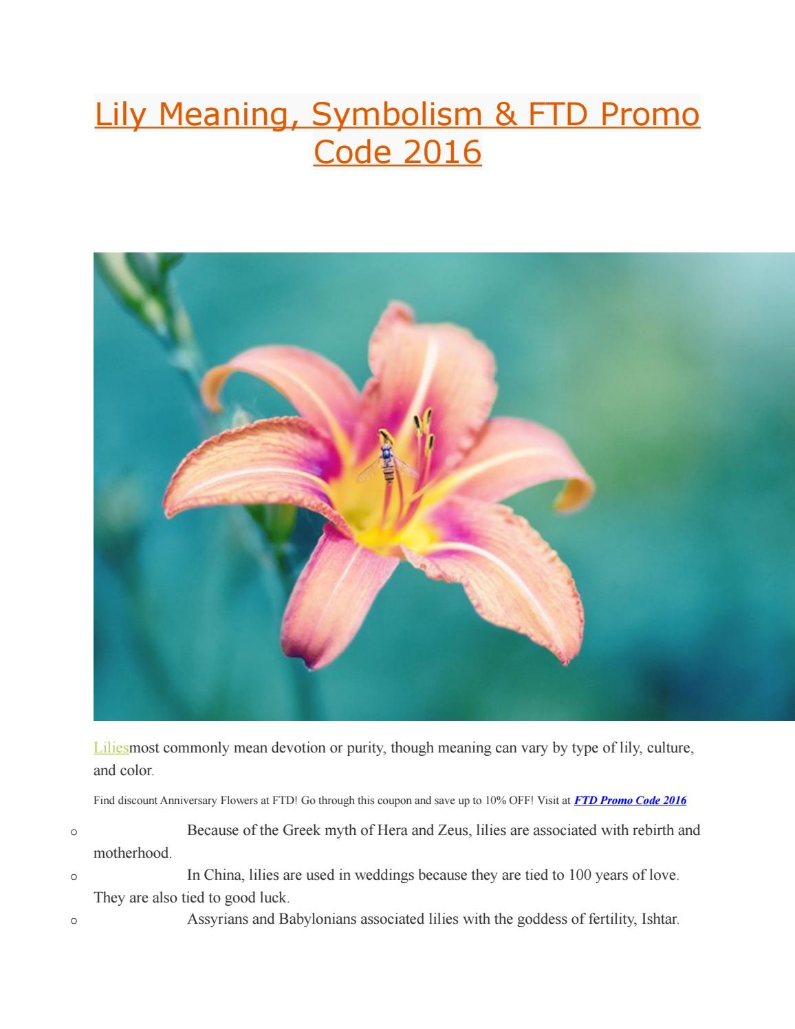 Lily meaning symbolism ftd promo code 2016 by th thy issuu izmirmasajfo