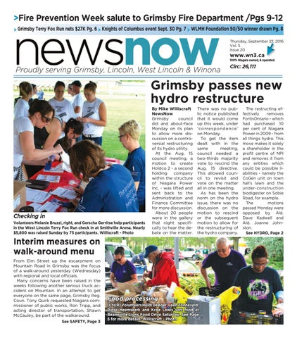 >Fire Prevention Week salute to Grimsby Fire Department /Pgs 9-12 > Grimsby Terry Fox Run nets $27K Pg. 6 > Knights of Columbus event Sept.