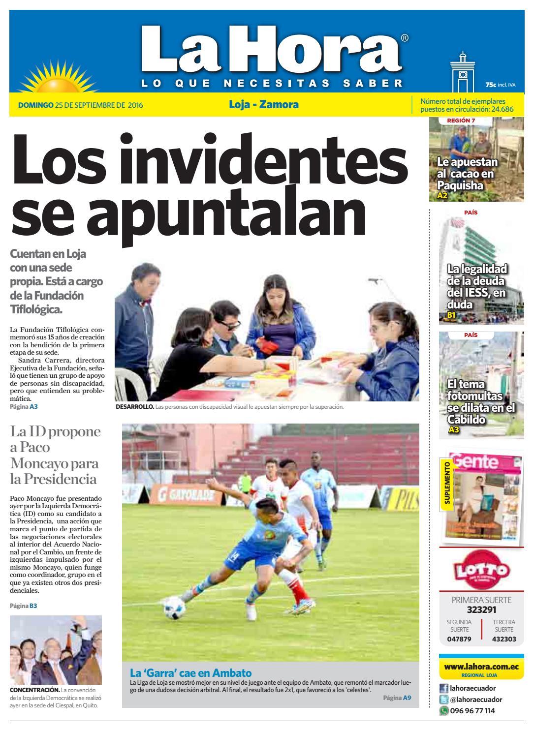 Diario La Hora Loja 25 de Septiembre 2016 by Diario La Hora Ecuador - issuu 52d9fc8446d