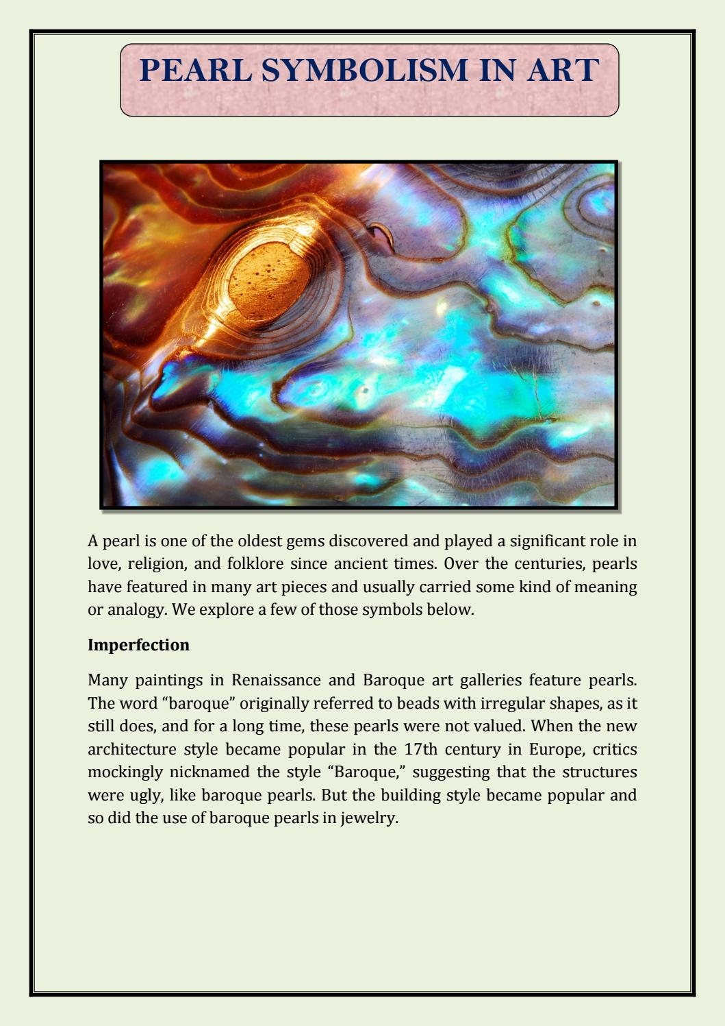 Pearl Symbolism In Art By Timelesspearl Issuu
