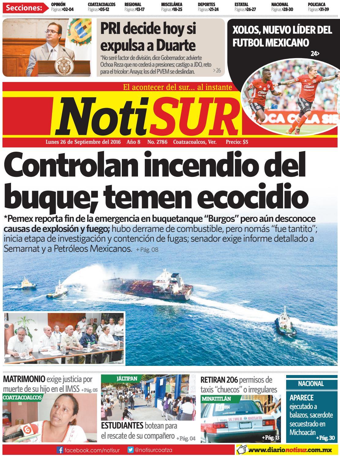 Notisur 26 De Septiembre 2016 By Diario Notisur Coatzacoalcos 2015